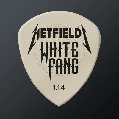 Artistiplektrat kategoriakuva. Kuvassa Hetfield White Fang -plektra.