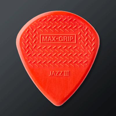 Dunlop Max-Grip kategoriakuva. Kuvassa Dunlop Max-Grip Jazz III -plektra.