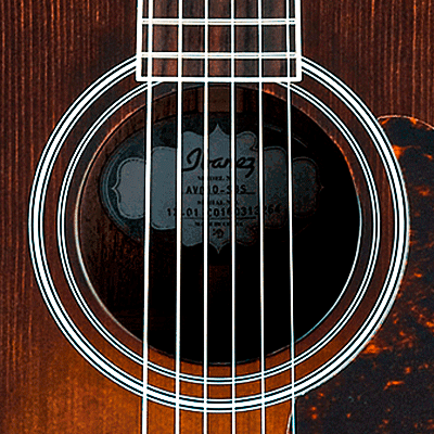 Ibanez Artwood Vintage kitarat kategoriakuva. Kuva kitaran kaikuaukosta.