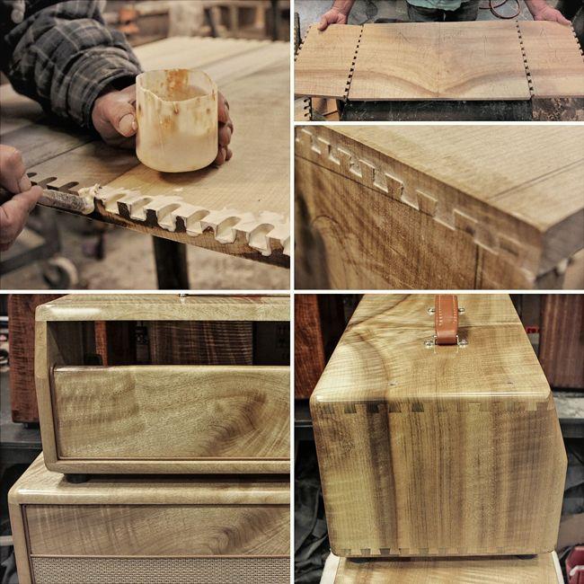 Mesa/Boogie hardwood-kaapin palojen yhdistävä dovetail-liitos.