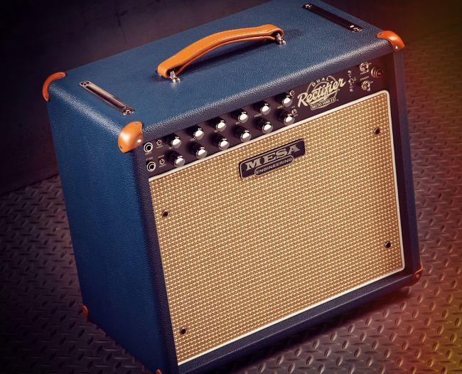 Mesa Boogie Dual Rectifier Recto-Verb 25 sinisillä kuorilla ja tan-nahkaosilla.