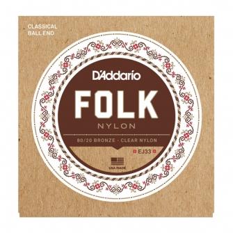 Daddario EJ33 Folk Nylon akustisen nylon kielisarja