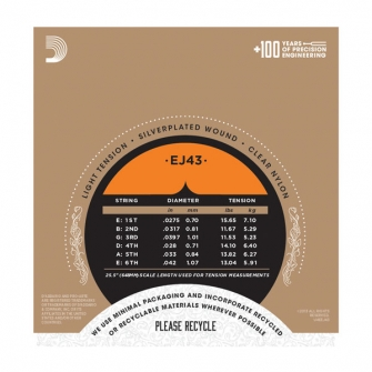 Daddario EJ43 Pro Arte akustisen nylon kielisarja Light Tension