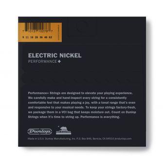 Dunlop Nickel Wound Performance+ DEN0962-kitaran kielipaketti takaa.