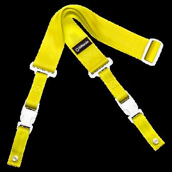 DiMarzio ClipLock kitarahihna keltainen valkoiset osat.
