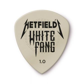 James Hetfield White Fang plektra 1.00mm edestä kuvattuna.