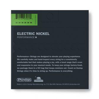 Dunlop Nickel Wound Performance+ DEN1150-sähkökitaran kielipaketti takaa.