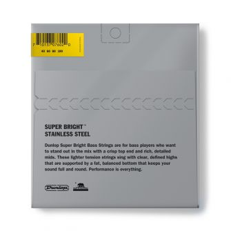 Dunlop Super Bright Steel 40-100 Short Scale basson kielipaketti takaa.