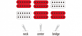 Ibanez PS4CM-kitaran mirkofonien kytkentämalli.