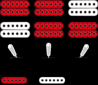 Ibanez XPTB620BKF kitaran mikrofonien kytkentämalli.