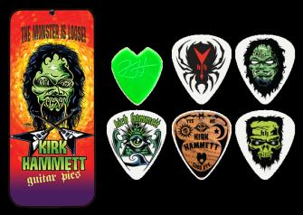 Dunlop Kirk Hammett soittolehdet tinalaatikossa