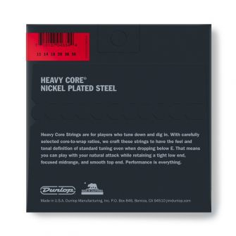 Dunlop Heavy Core 11-50 kielipaketti takaa.
