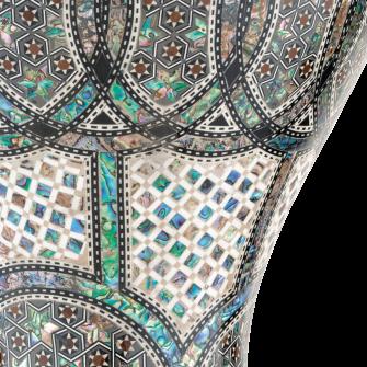 Mosaic Palace Doumbekin upea viimeistely lähikuvassa.