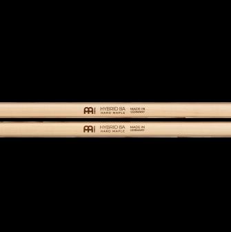 Meinl Hybrid 8A Hard Maple -rumpukapuloiden logot.