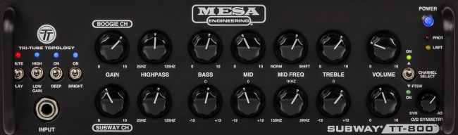 Mesa Subway TT-800 bassovahvistimen etupaneeli.